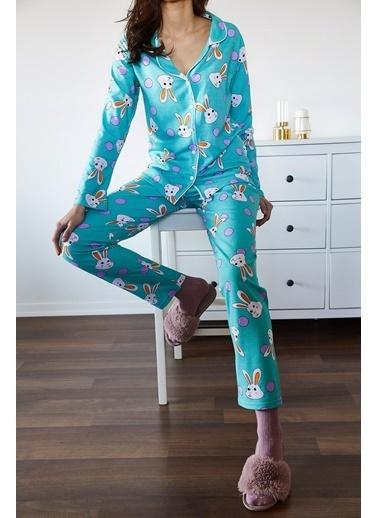 XHAN Buz Mavisi Tavşan Desenli Pijama Takımı 1Kxk8-44721-43 Mavi
